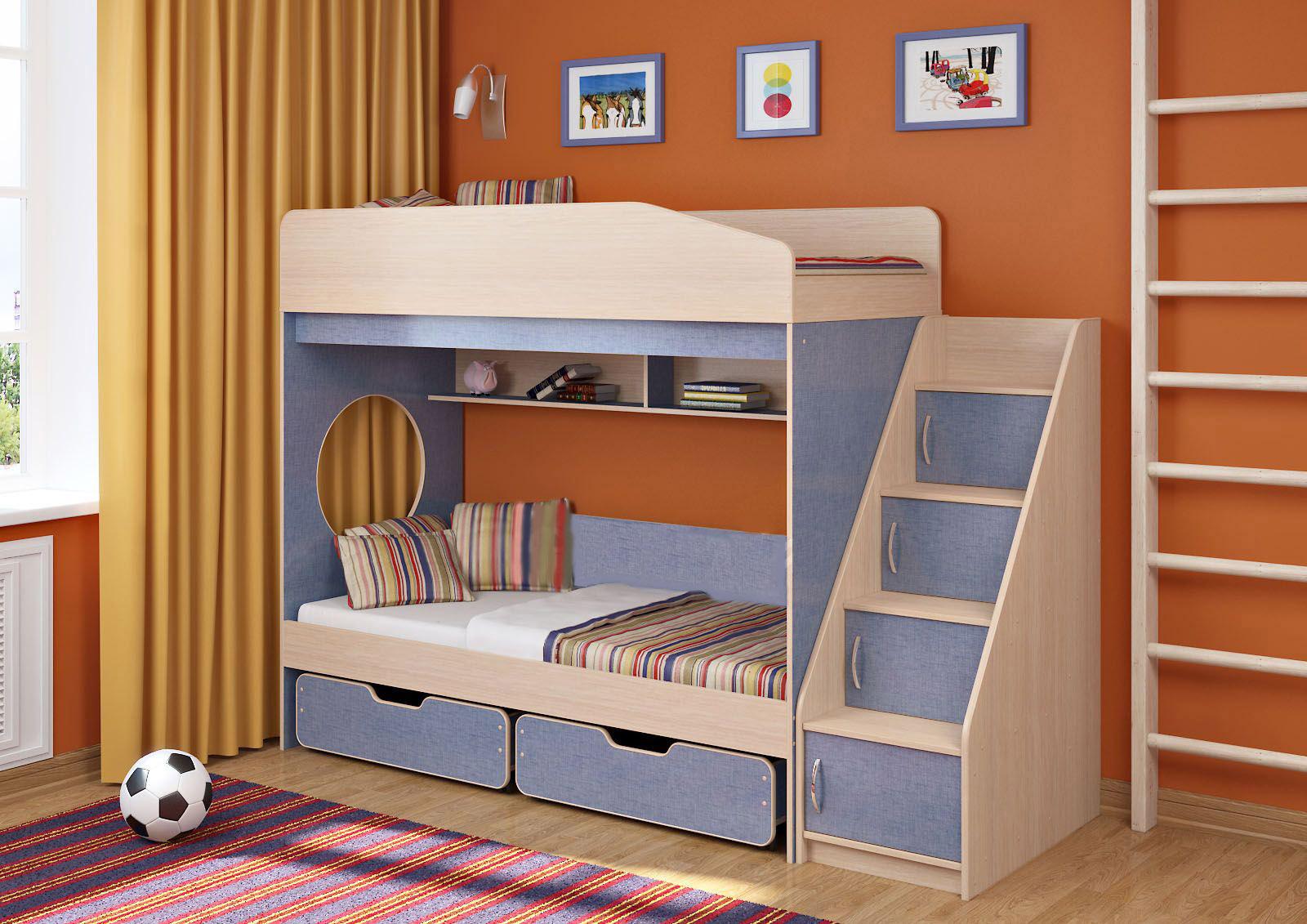 купить двухъярусную кровать с ящиками